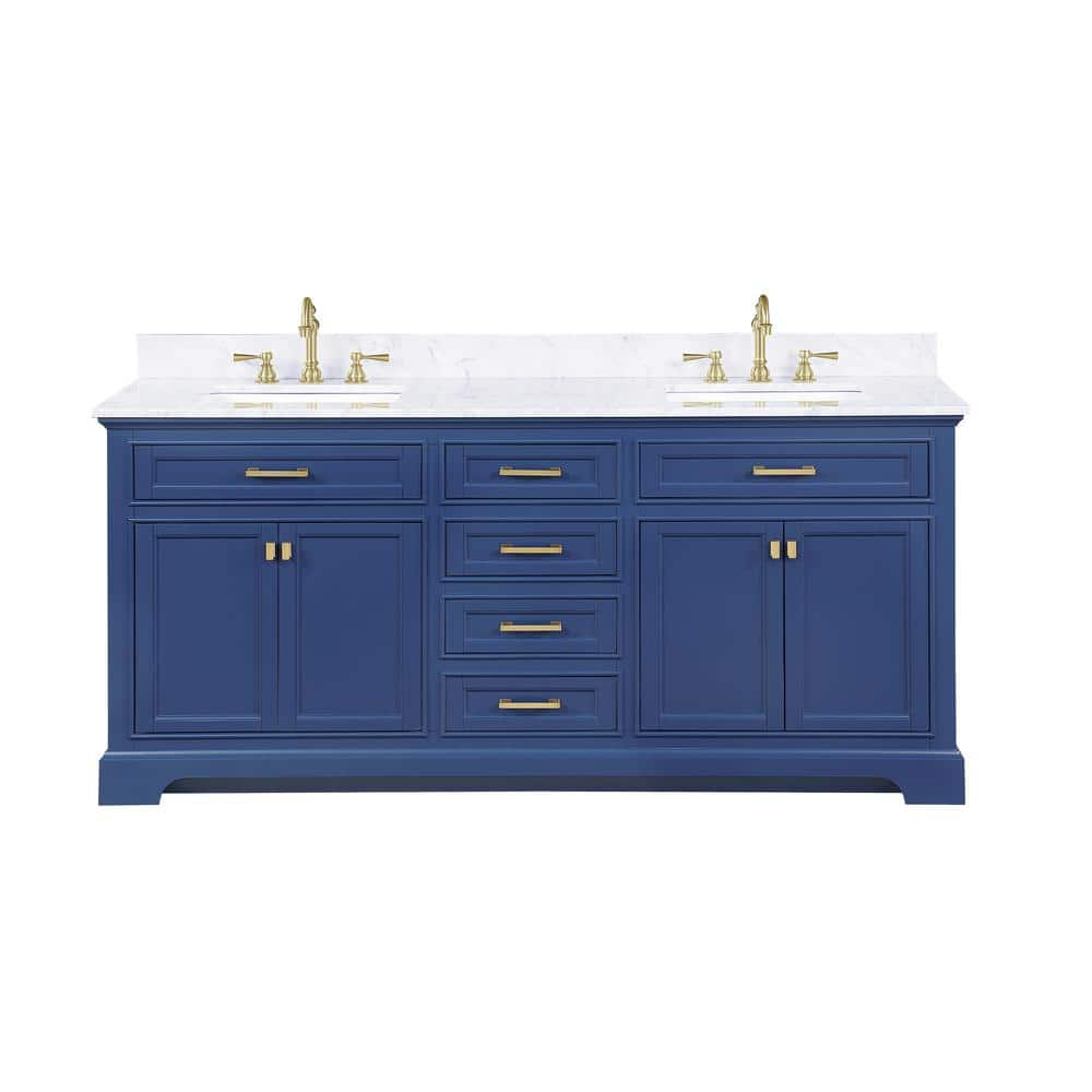 Design Element Milano 72 In W X 22 In D Bath Vanity In Blue With Carrara Marble Vanity Top In White With White Basin Ml 72 Blu The Home Depot
