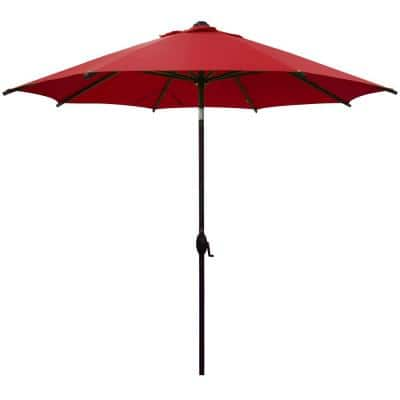 9 ft. Market Outdoor Patio Umbrella Aluminum Pole with Auto Tilt and Crank, 8 Ribs in Red