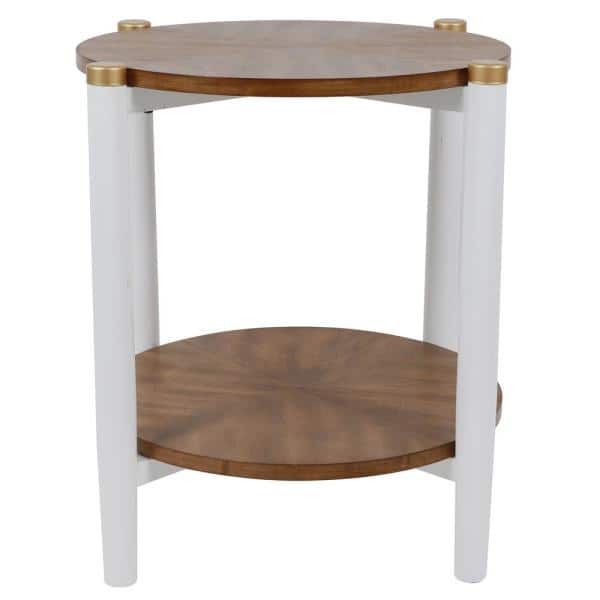 Decor Therapy Gabby White And Wood Two Tone Side Table Fr8771 The Home Depot