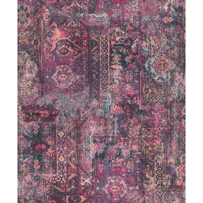 Hamadan Purple Textile Wallpaper Sample