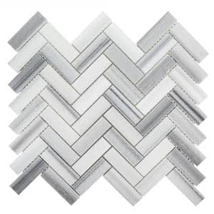 Zebra Plains Gray 12.875 in x 11.125 in. Herringbone Polished Marble Wall and Floor Mosaic Tile (0.994 sq. ft./Each)