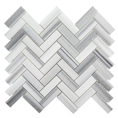 Zebra Plains Gray 12.875 in x 11.125 in. Herringbone Polished Marble Wall and Floor Mosaic Tile (0.994 sq. ft./Each)