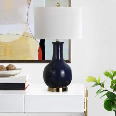 Paris 27.5 in. Royal Blue Gourd Ceramic Table Lamp with White Shade