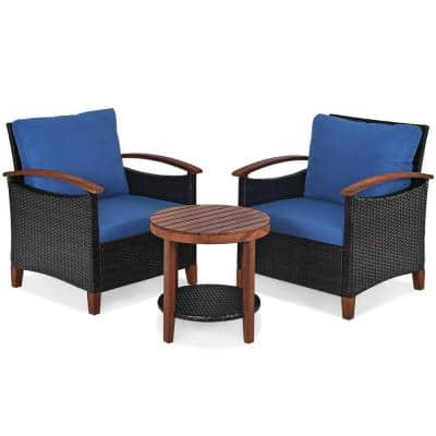 3-Pieces Solid Wood Patio Rattan Conversation Set with Blue Cushions Outdoor Sofa Round Table Shelf