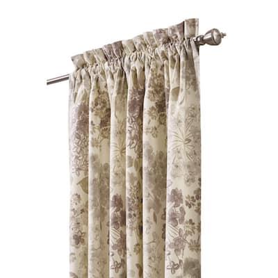 Linen Floral Rod Pocket Room Darkening Curtain - 54 in. W x 96 in. L