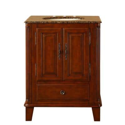 28 in. W x 22 in. D Vanity in Special Walnut with Granite Vanity Top in Baltic Brown with Ivory Basin