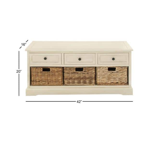 3 Wicker Basket And Slide Out Drawers, White Storage Furniture With Baskets