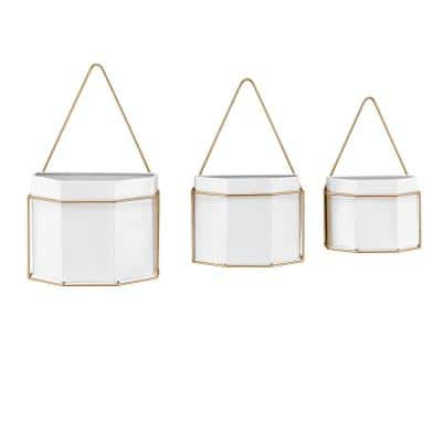 Geometric White and Gold Metal Wall Mounted Planters (Set of 3)