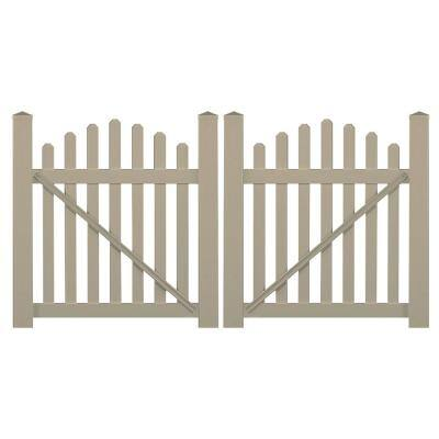 Sanibel 8.8 ft. W x 5 ft. H Khaki Vinyl Picket Fence Double Gate Kit