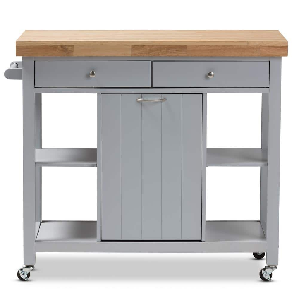 Baxton Studio Hayward Gray Kitchen Cart With Pull Out Garbage Bin 143 7947 Hd The Home Depot