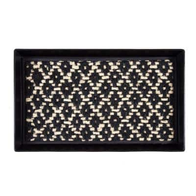 24.5 in. x 14 in. x 1.5 in. Black Metal Boot Tray with Black & Ivory Coir Insert