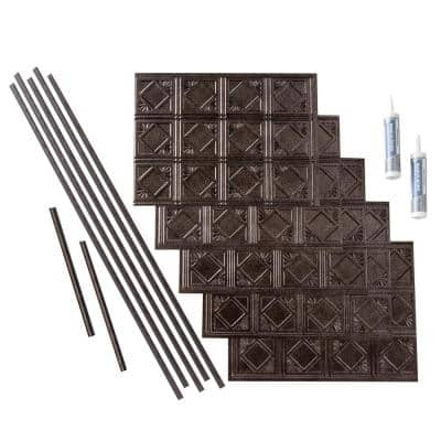 Traditional 4 18 in. x 24 in. Smoked Pewter Vinyl Decorative Wall Tile Backsplash 15 sq. ft. Kit