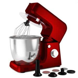 800W 7 qt. . 6-Speed Red Stainless Steel Multi-Functional Stand Mixer Meat Grinder Sausage Stuffer Juice Blender