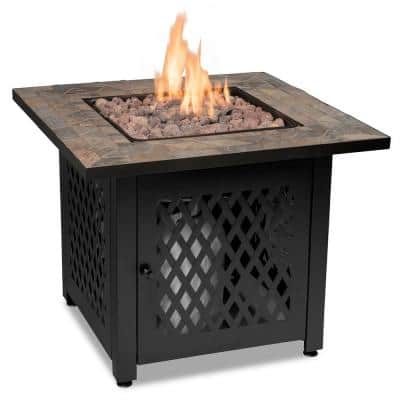 30 in. W Steel Frame Slate Tile Mantel LP Gas Fire Pit with Electronic Ignition and Lava Rock