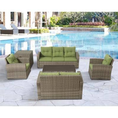 6-Piece Wicker Rattan Patio Sofa Seating Group with Green Cushions