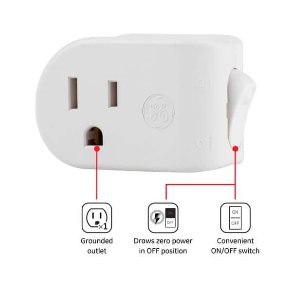 New 3 Prong Grounded Single Port Power Adapter For Outlet With On//Off Switch To