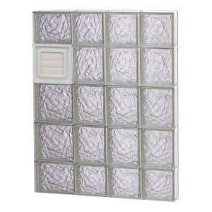 25 in. x 34.75 in. x 3.125 in. Frameless Ice Pattern Glass Block Window with Dryer Vent