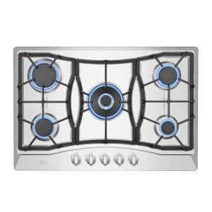 30 in. Gas Stove Cooktop with 5 Italy SABAF Burners in Stainless Steel
