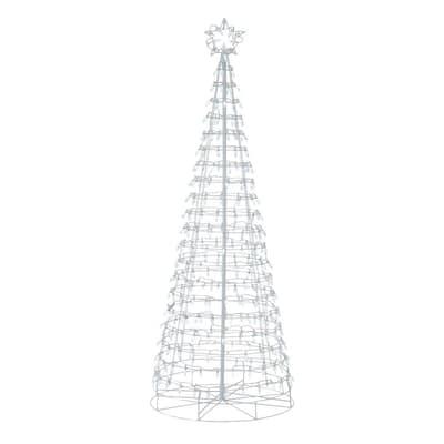 6 ft 300-Light LED White Tree with Star