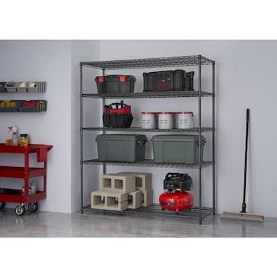 PRO Black 5-Tier Steel Wire Garage Storage Shelving Unit (60 in. W x 72 in. H x 24 in. D)