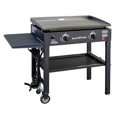 28 in. 2-Burner Griddle Cooking Station in Black