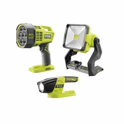 ONE+ 18V Cordless 3-Tool Light Combo Kit with Hybrid Spot Light, Hybrid Work Light, and LED Light (Tools Only)