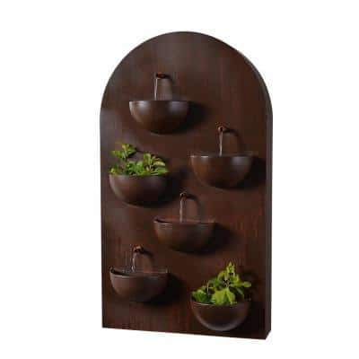 Silva 31 in. Steel Wall Fountain with Planters