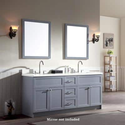 Hamlet 73 in. Bath Vanity in Grey with Quartz Vanity Top in White with White Basins