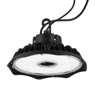 200-Watt Equivalent Integrated LED Motion Sensor Black High Bay Light Indoor/Outdoor UFO Light 26000 Lumens 5000K