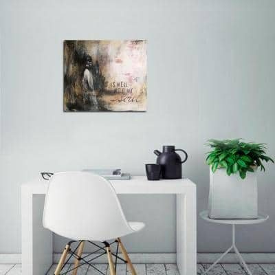 """34 in. x 46 in. """"It Is Well with My Soul Abstract"""" by Christina Lovisa Printed Canvas Wall Art"""