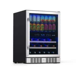 Dual Zone 24 in. Built-In 20-Bottle Wine and 70-Can Beverage Cooler with SplitShelf Shelves - Stainless Steel