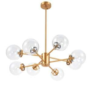 8-Light Antique Brass Sputnik Style Chandelier with Clear Glass Shades
