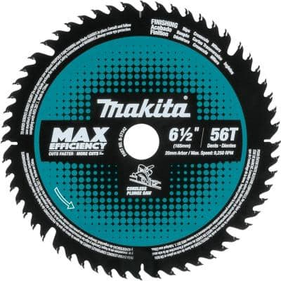 6-1/2 in. 56-Teeth Carbide Tipped Cordless Plunge Saw Blade for Wood/MDF/Laminate