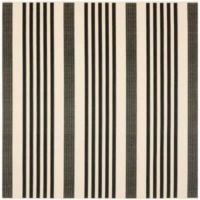 Courtyard Black/Bone 4 ft. x 4 ft. Square Striped Indoor/Outdoor Area Rug