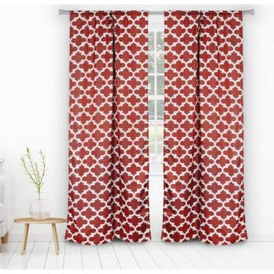 Ruby Red Trellis Thermal Blackout Curtain - 38 in. W x 84 in. L (Set of 2)