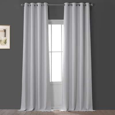 Oyster Faux Linen Grommet Blackout Curtain - 50 in. W x 120 in. L