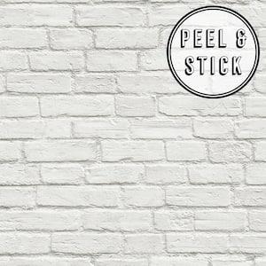 Brick White Vinyl Peelable Roll (Covers 30.75 sq. ft.)