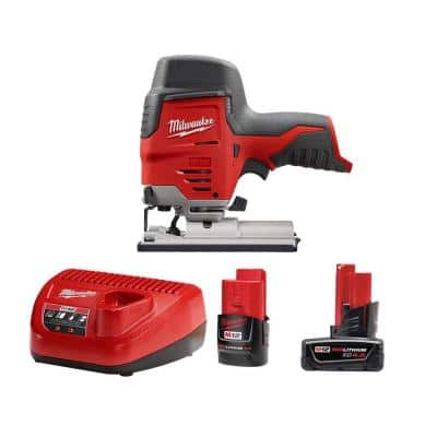 M12 12-Volt Lithium-Ion Cordless Jig Saw with One M12 4.0 Ah and One M12 2.0 Ah Battery Pack and Charger
