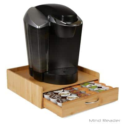 32-Capacity Bamboo Brown K-Cup Storage Drawer with Lip Panel