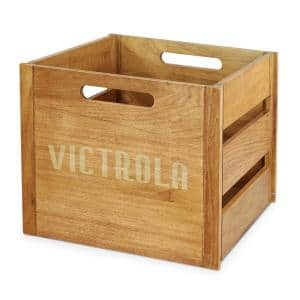 Wooden Record and Vinyl Crate