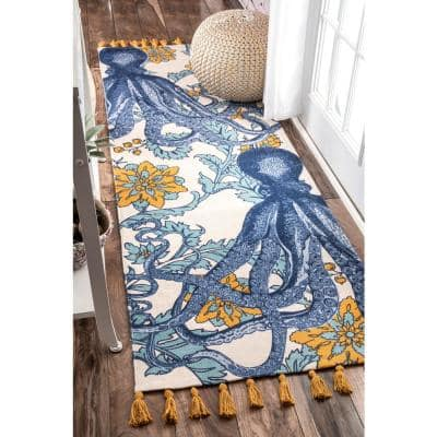 Thomas Paul Contemporary Floral Octopus Multi 3 ft. x 10 ft. Runner