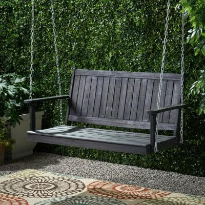 Tambora 47.75 in. 2-Person Dark Grey Wood Porch Swing