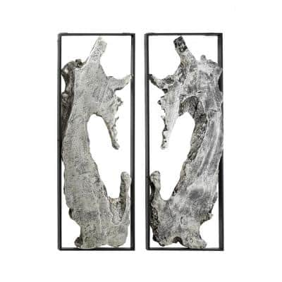 Silver Metal Abstract Wall Decor (Set of 2)