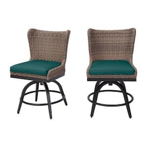 Hazelhurst Brown Wicker Outdoor Patio Swivel High Dining Chairs with CushionGuard Malachite Green Cushions (2-Pack)