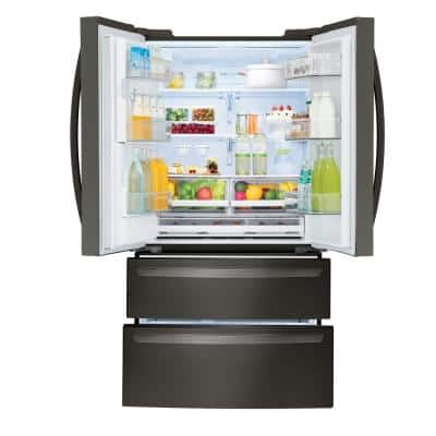 27.8 cu. ft. 4-Door French Door Smart Refrigerator with 2 Freezer Drawers & Wi-Fi Enabled in Black Stainless Steel