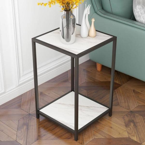 Clihome White Marble Modern Side Table And Black Metal Leg With Storage Shelf For Living Room Small End Cy C02 Bwm The Home Depot - Black Metal Narrow End Table