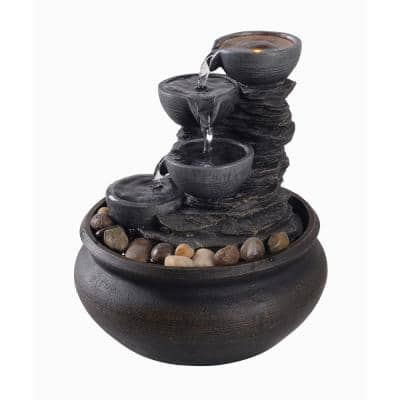Table Top Tiered Fountain with LED Light in Stone Grey