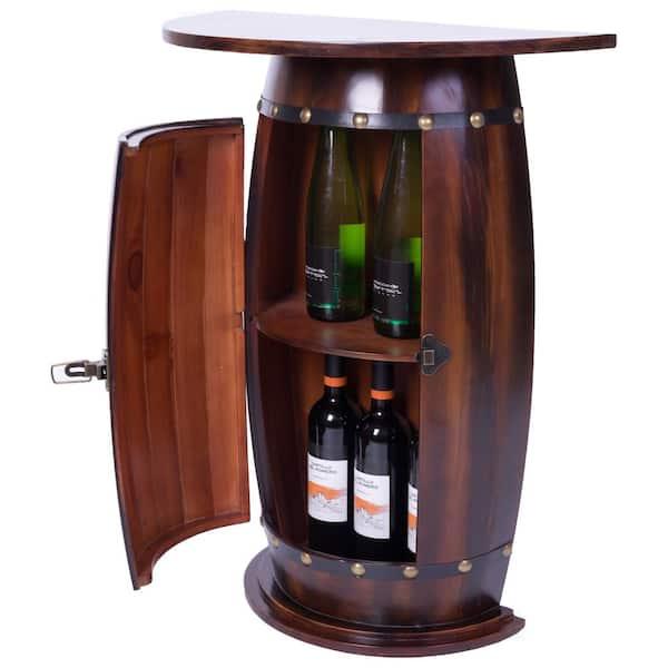 natural pine wood Wooden Wine Rack Barrel shape for 8 Bottle Bar Stand