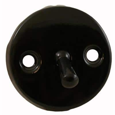 2-Hole Bathtub Waste and Overflow Faceplate with Trip Lever Less Screws in Black