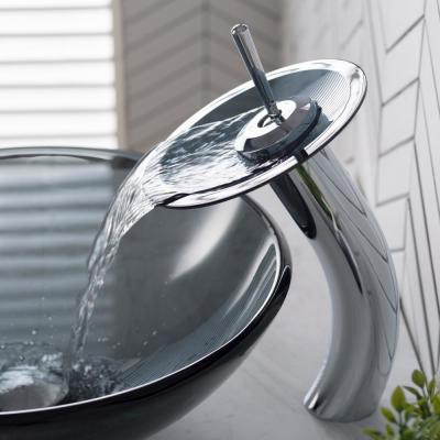 Single Hole Single-Handle Low-Arc Vessel Glass Waterfall Bathroom Faucet in Chrome with Frosted Glass Disk in Gray
